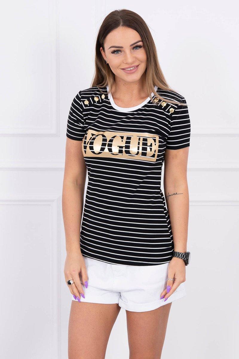 a0db30949e3c KESI Pásikavé dámske tričko s krátkym rukávom VOGUE čierne EUR UNI