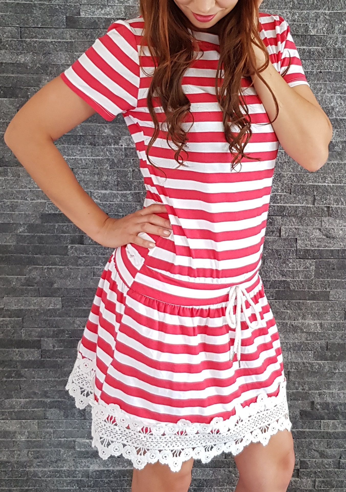 224cbc0a4e88 SS Červené pásikavé námornícke šaty EUR UNI