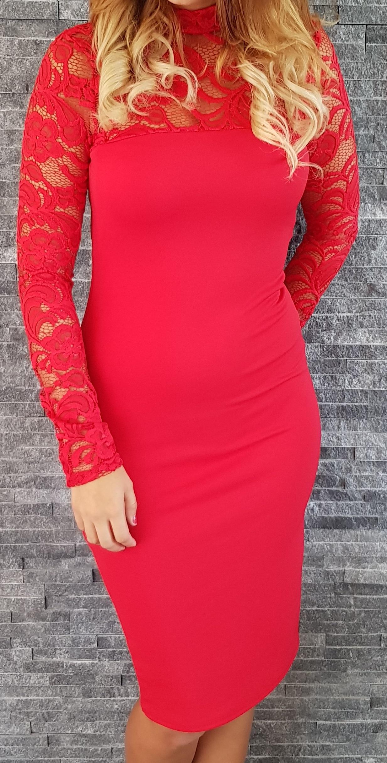73c9a71bf462 Červené čipkované šaty Popoluška