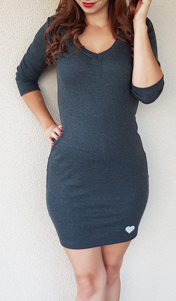 50388e1c6aaf Priliehavé šaty tmavo šedé