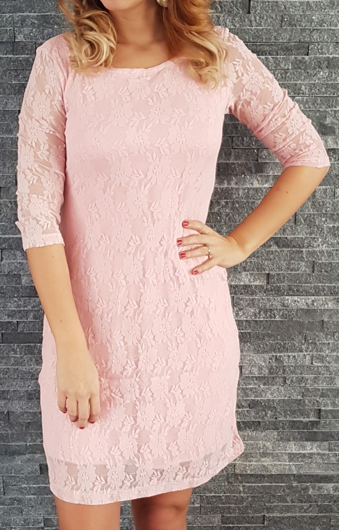 50a7c70c7f77 Čipkované šaty Klasika ružové