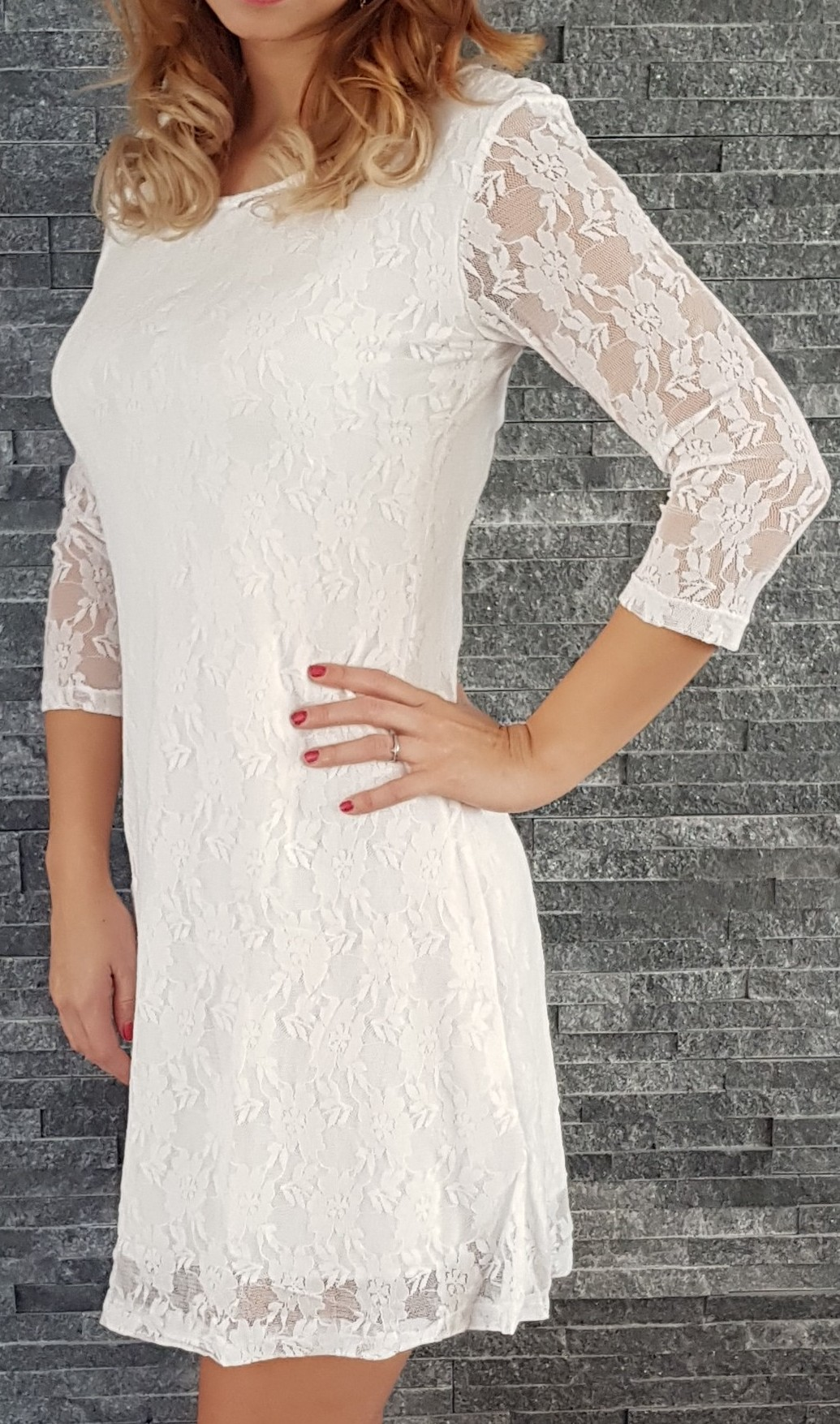 c2e32559cc91 Čipkované šaty Klasika biele