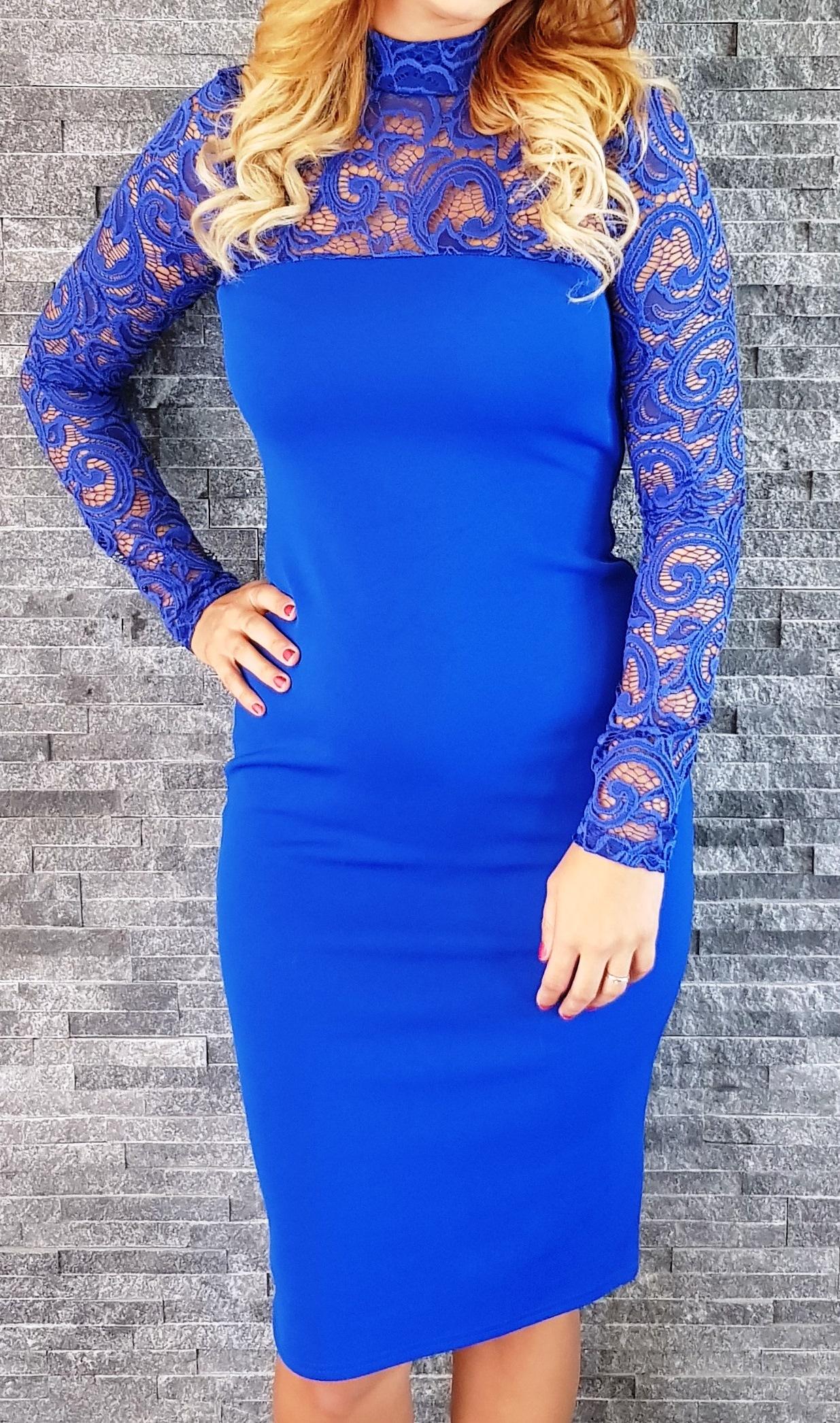 b89e49bf3249 Kráľovsky modré čipkované šaty Popoluška