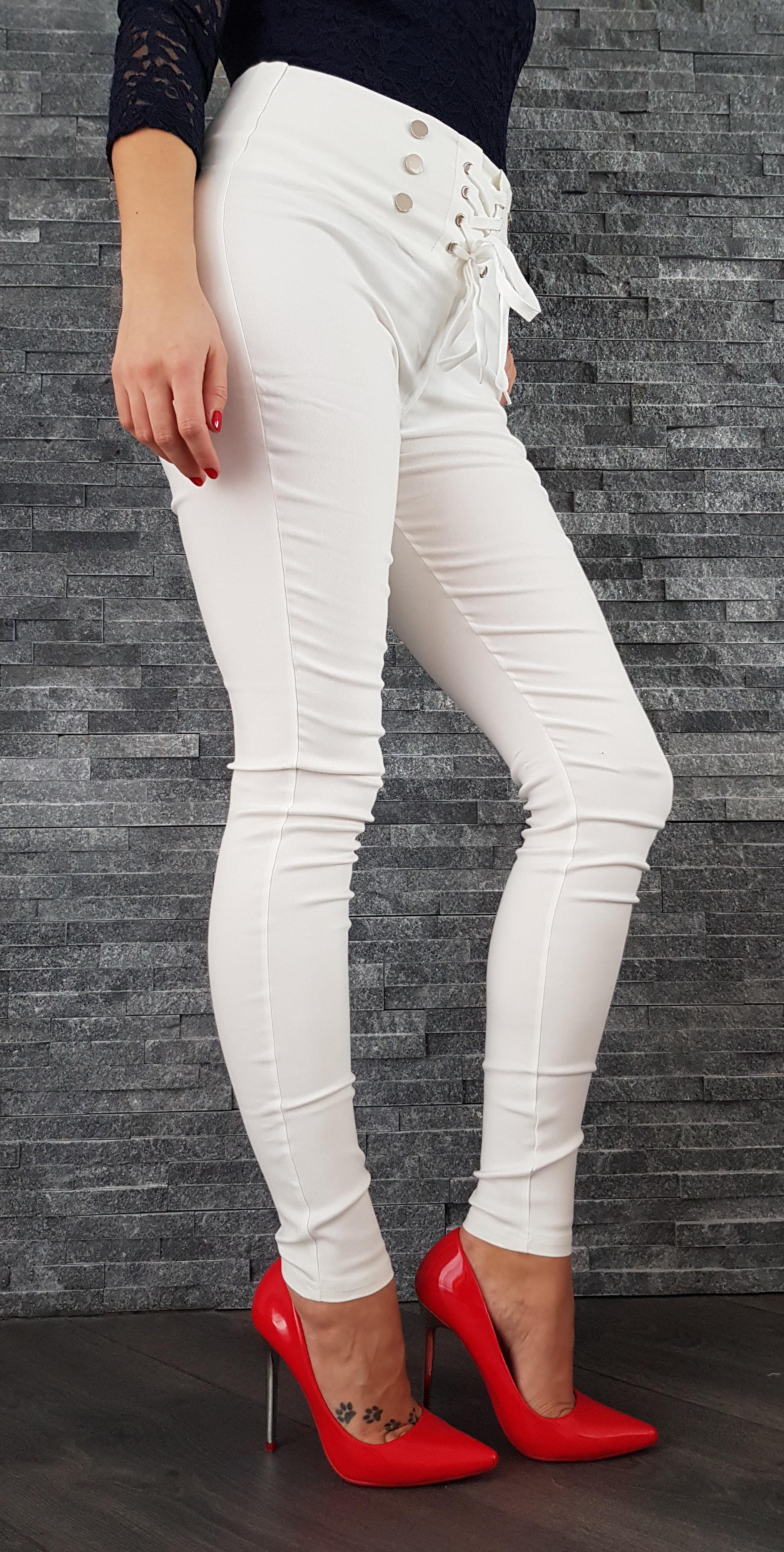 b789a8bc5f48 Biele elastické nohavice s vysokým pásom