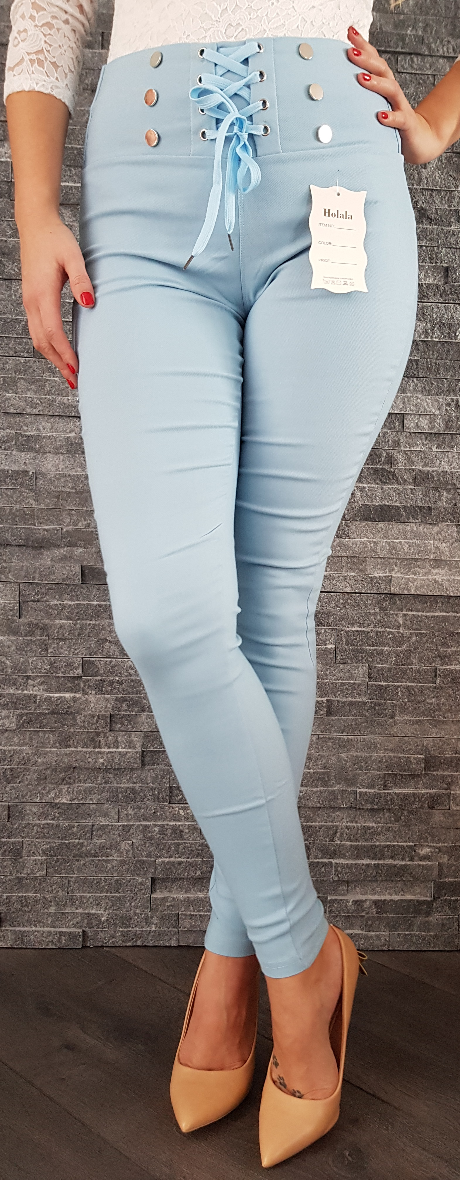 c7c64fdf2f Svetlo modré elastické nohavice s vysokým pásom