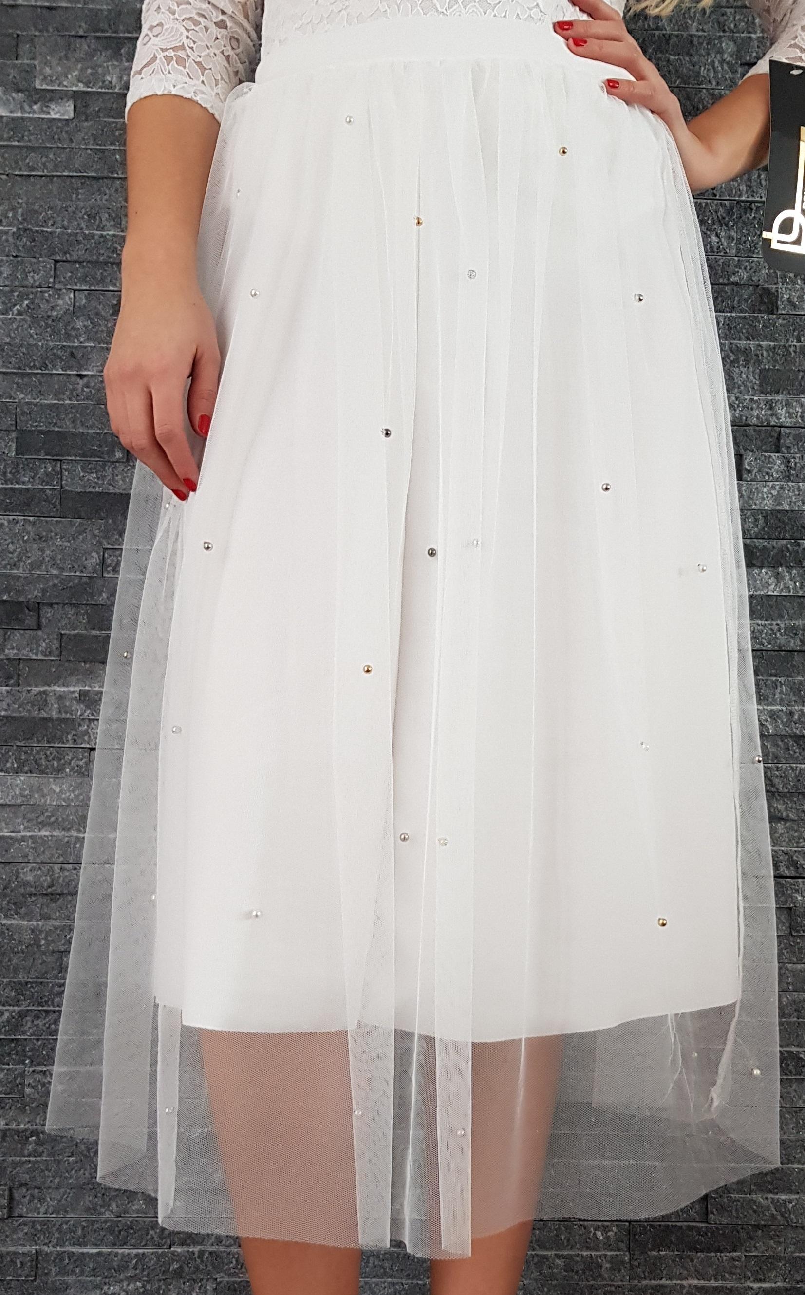 Biela tylová MIDI sukňa s perličkami 92afe83151