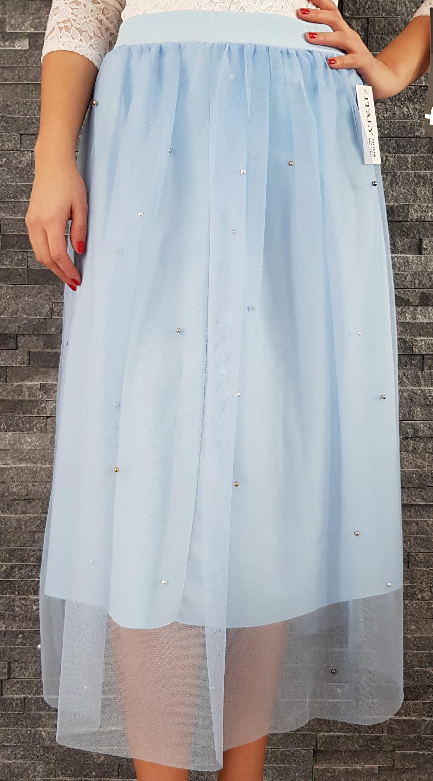 Modrá tylová MIDI sukňa s perličkami 591746c1d1