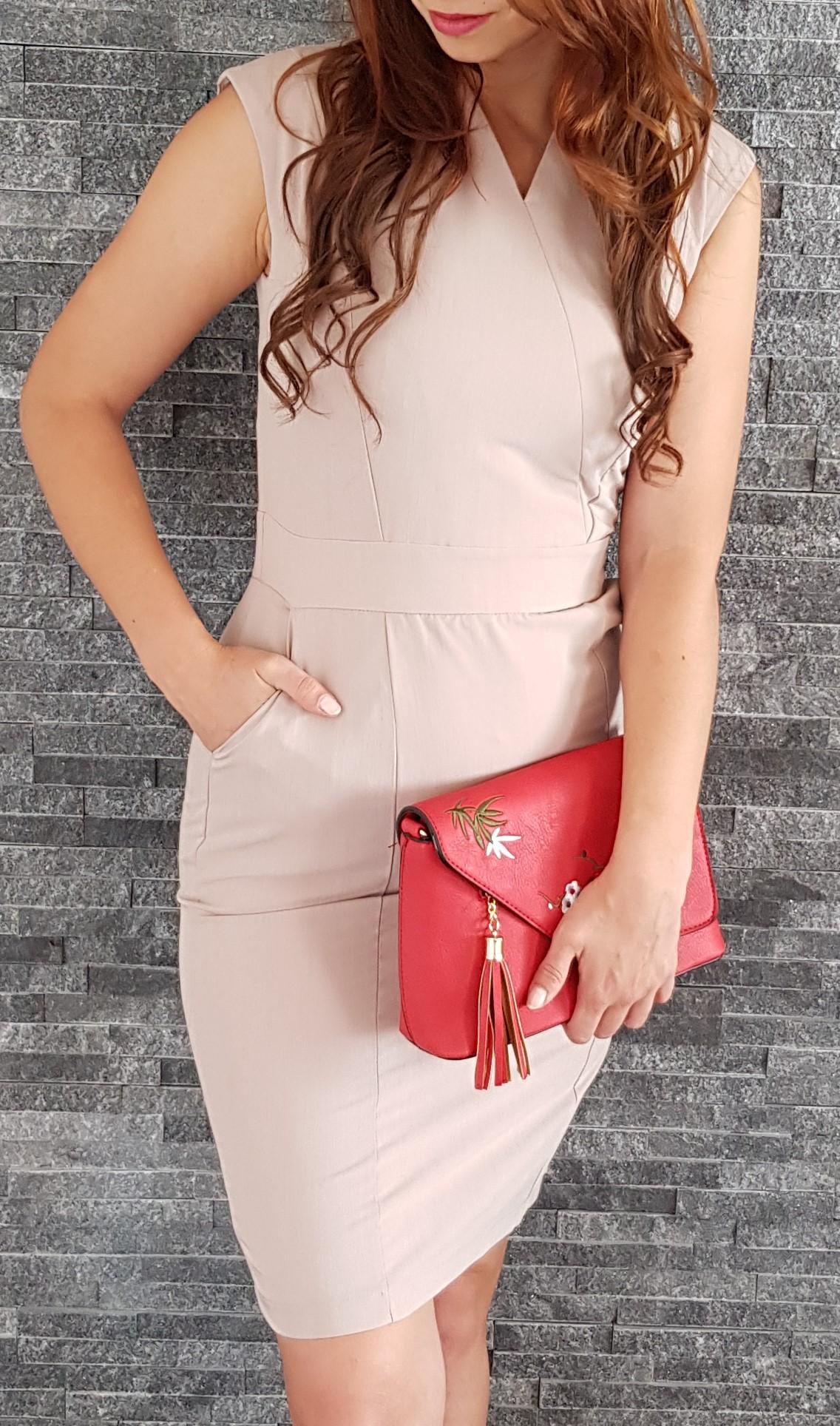 Business šaty béžové 445eeaca3c4