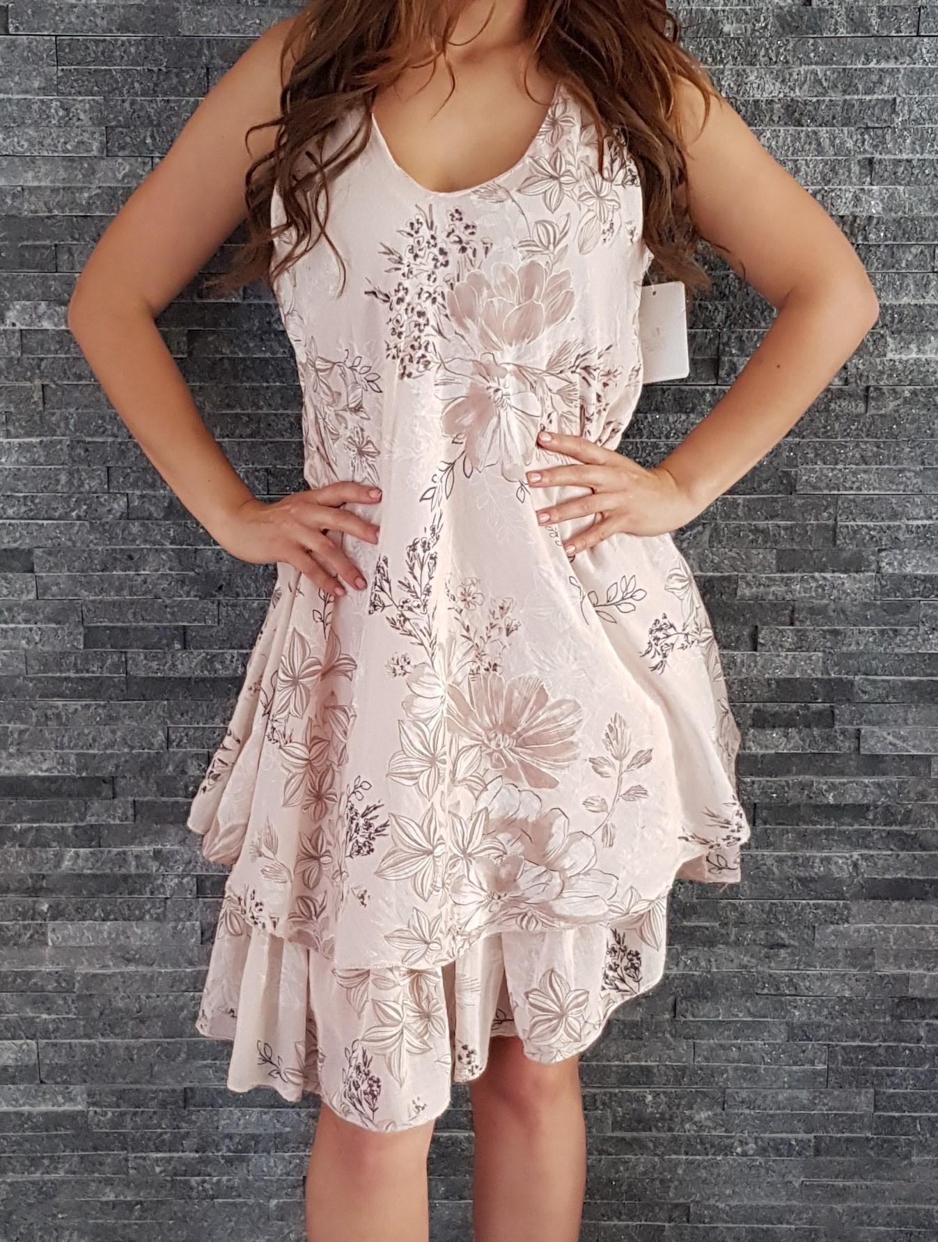 Letné šaty s dvojitou sukňou staro ružové d34e1651524