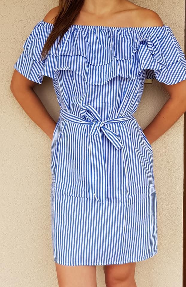 Pásikavé letné šaty s volánom modré aca53740247