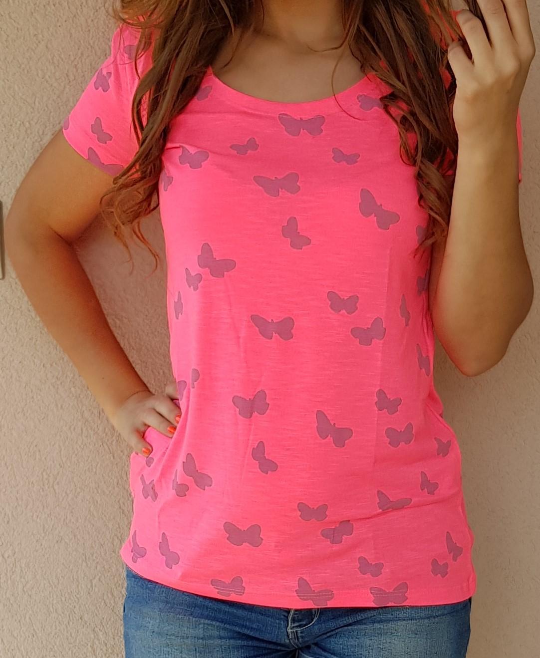 58936ab5c268 Tričko s krátkym rukávom Motýliky neónovo ružové