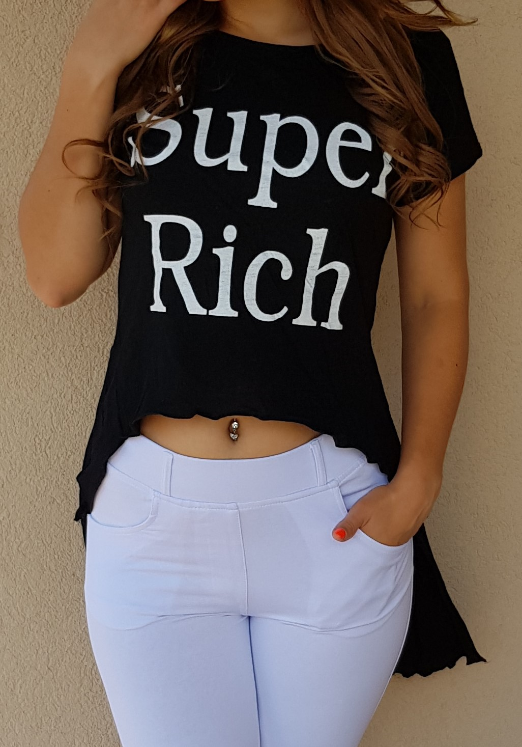 Crop top Super Rich čierny