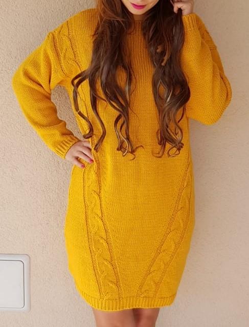 773180b72564 Oversized pletené šaty horčicové