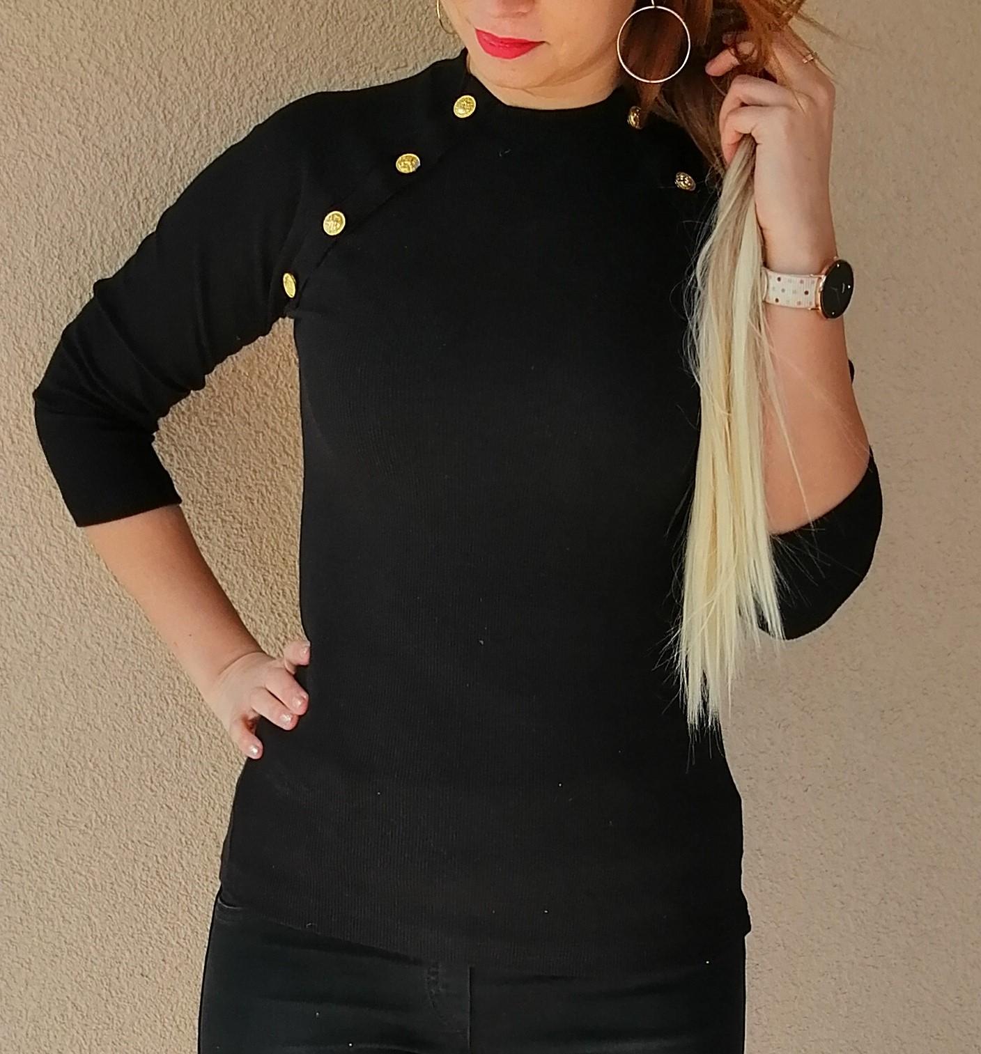 ce090ab8291d Rebrované tričko s gombíkmi čierne