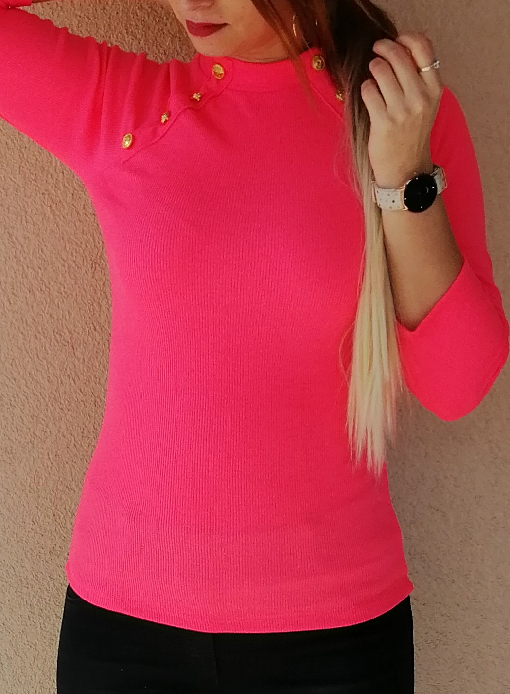 853c9e2244ab Rebrované tričko s gombíkmi neónovo ružové