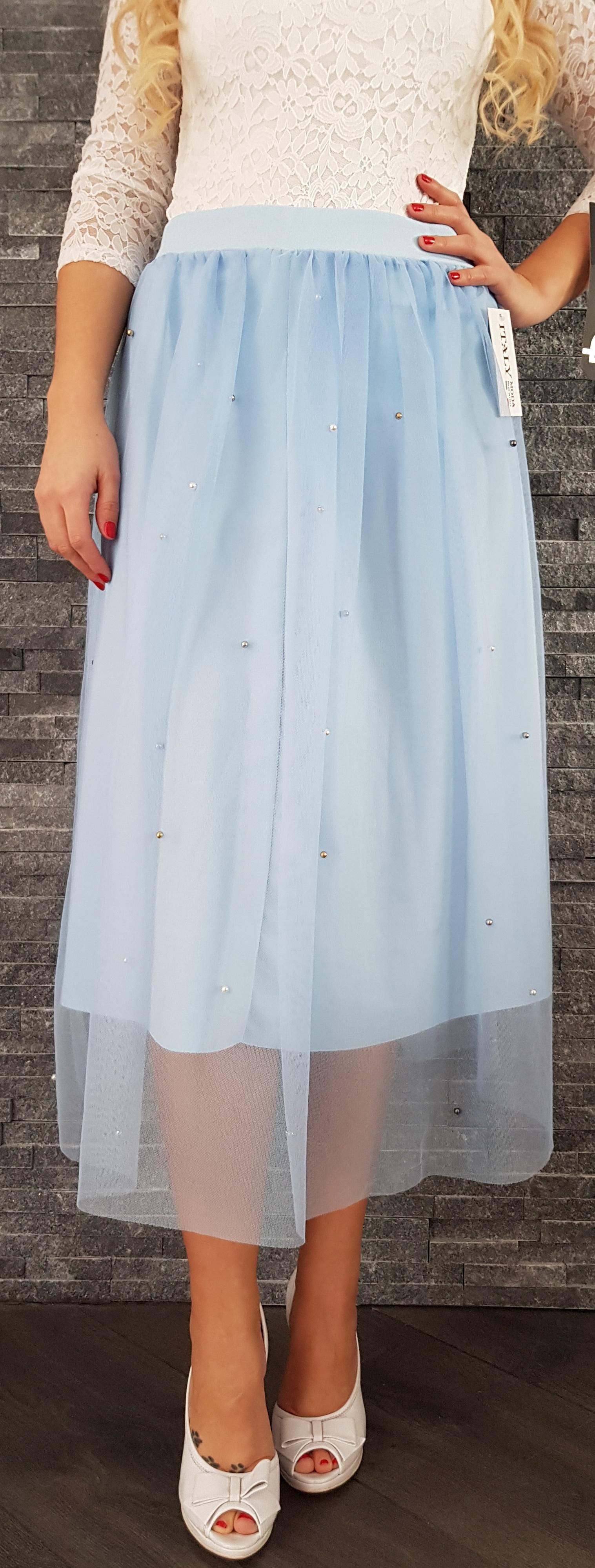 SS Modrá tylová MIDI sukňa s perličkami EUR UNI b80baff686