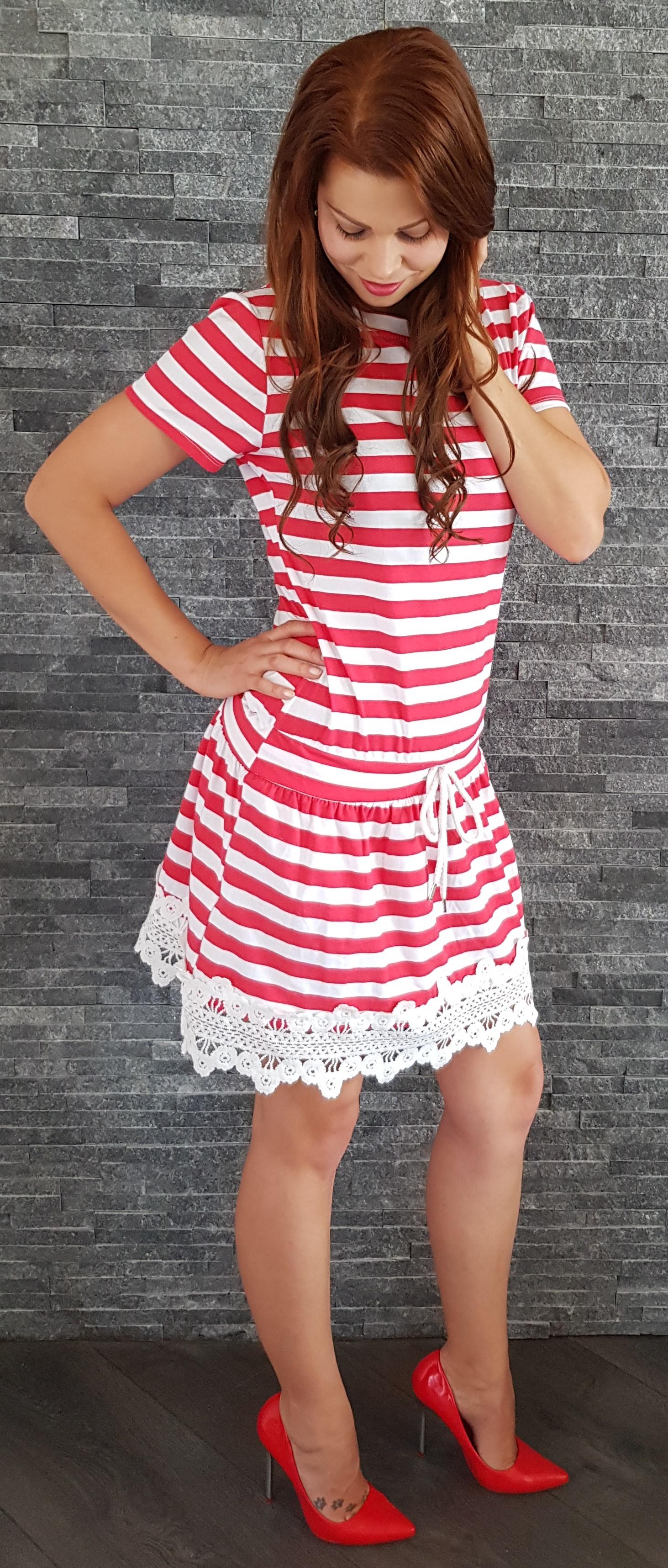 85fd4fc5c5d8 SS Červené pásikavé námornícke šaty EUR UNI