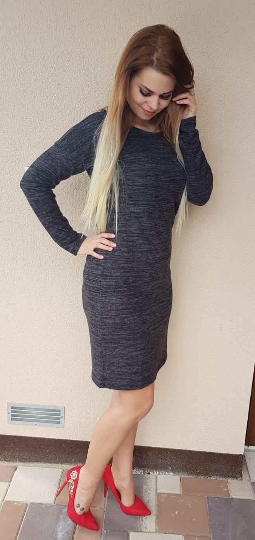 ab61bf961bd0 Melírované šaty tmavo šedé