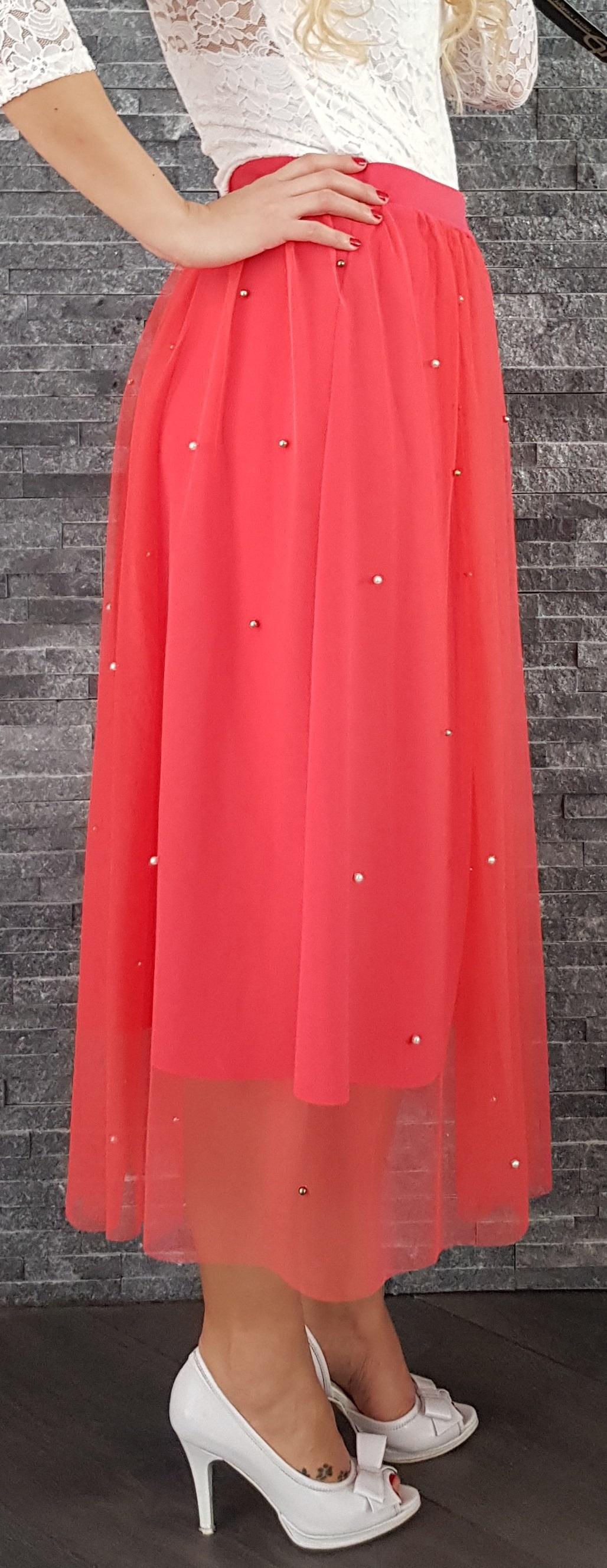 Červená tylová MIDI sukňa s perličkami 0c6b4c9805