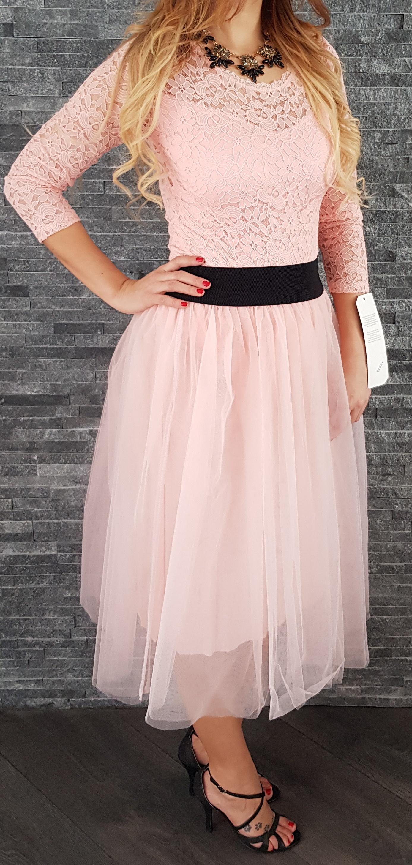 Ružová tylová MIDI sukňa 80d78012ed