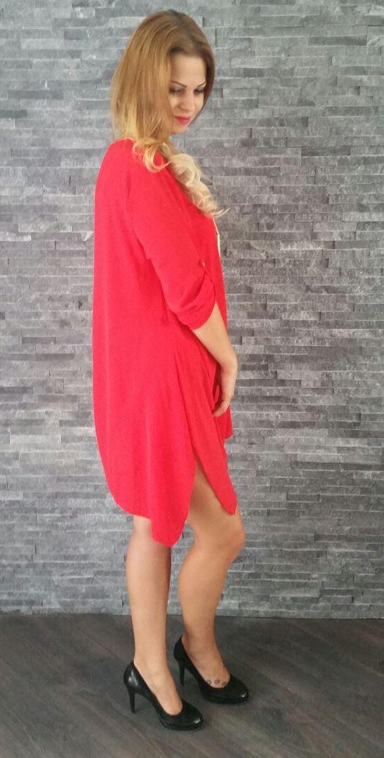 a9b893552546 Červené voľné mini šaty Elisha