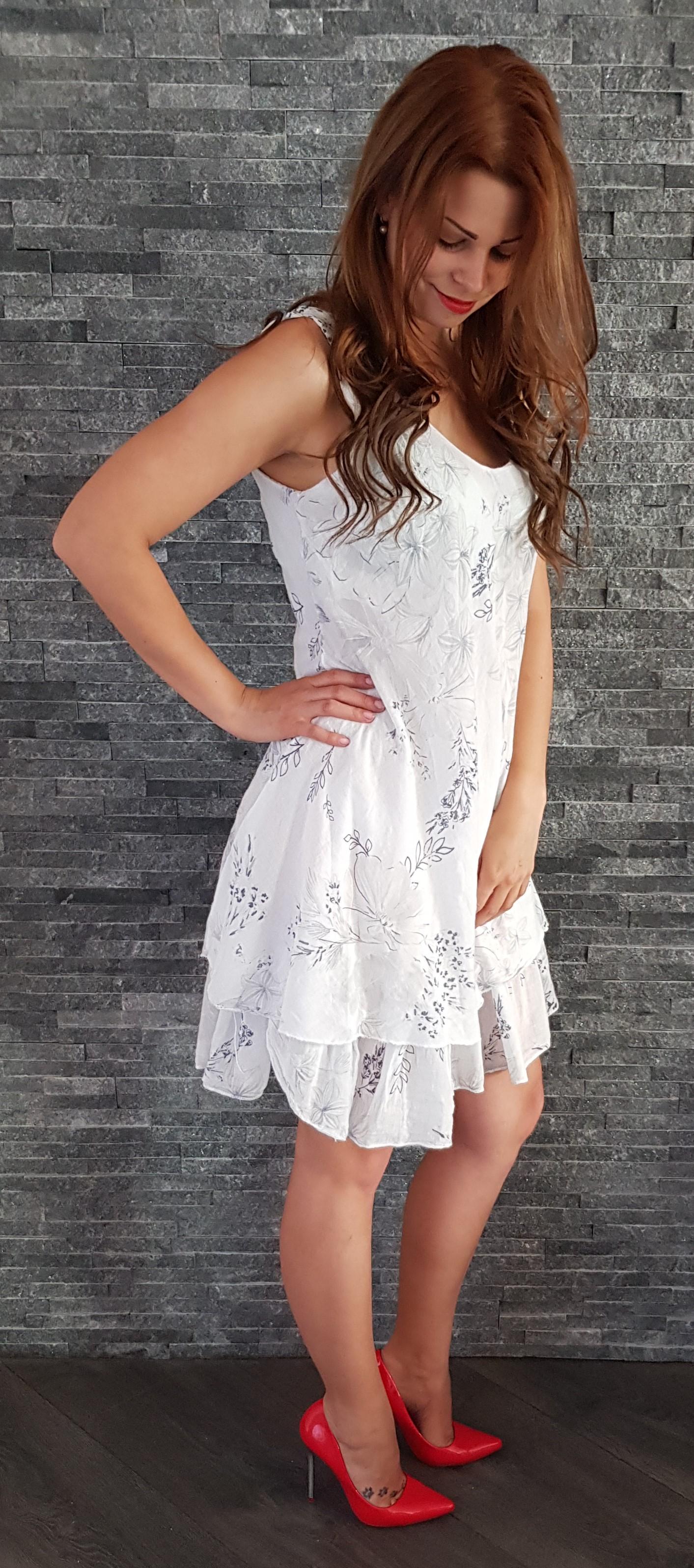 08533d066b72 Letné šaty s dvojitou sukňou biele