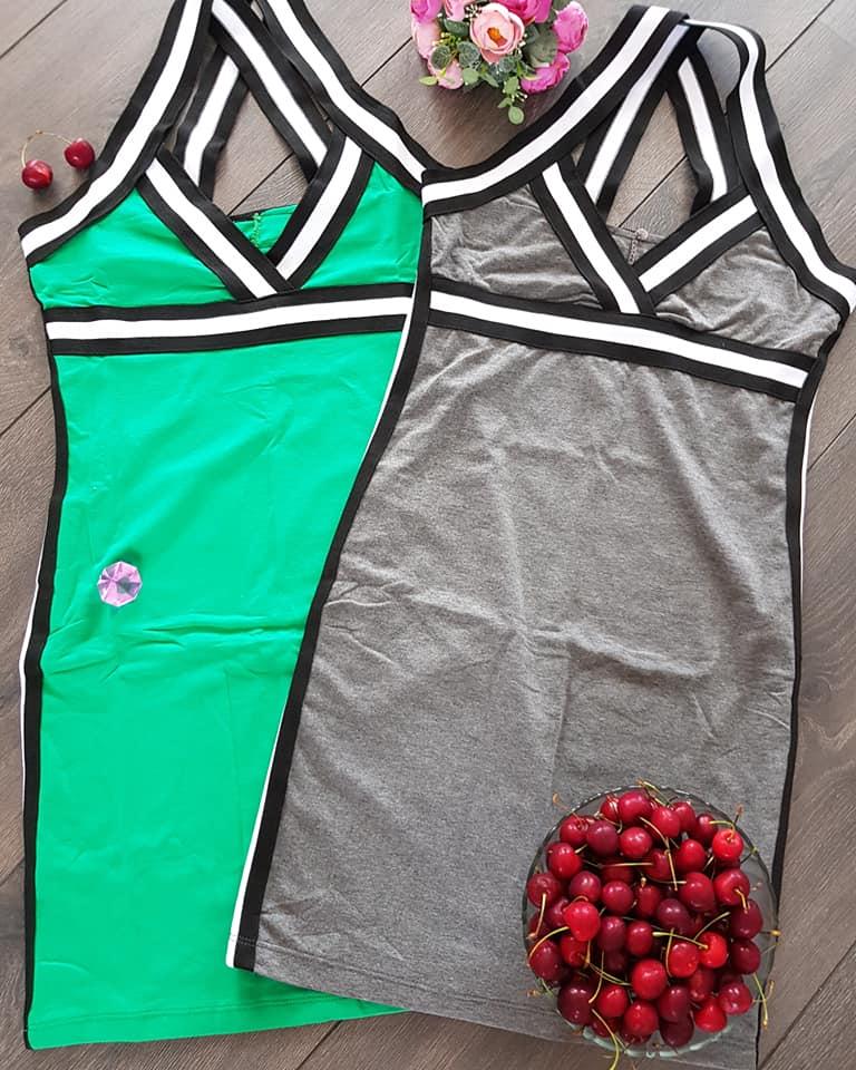 Letné športové šaty s výrazným lemom zelené eccde2c4704
