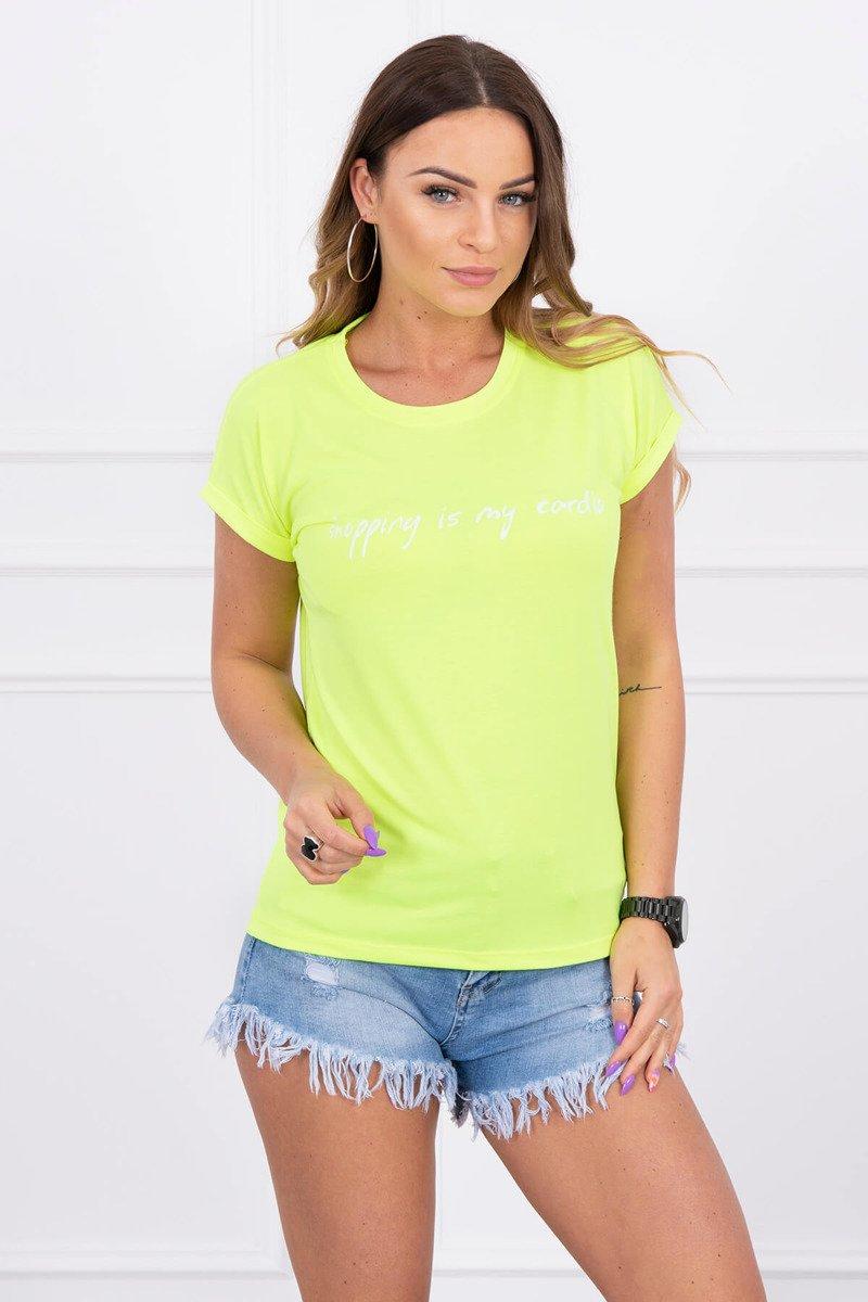 4c9ad40f9813 Dámske tričko s krátkym rukávom Shopping is my cardio svetlo žlté