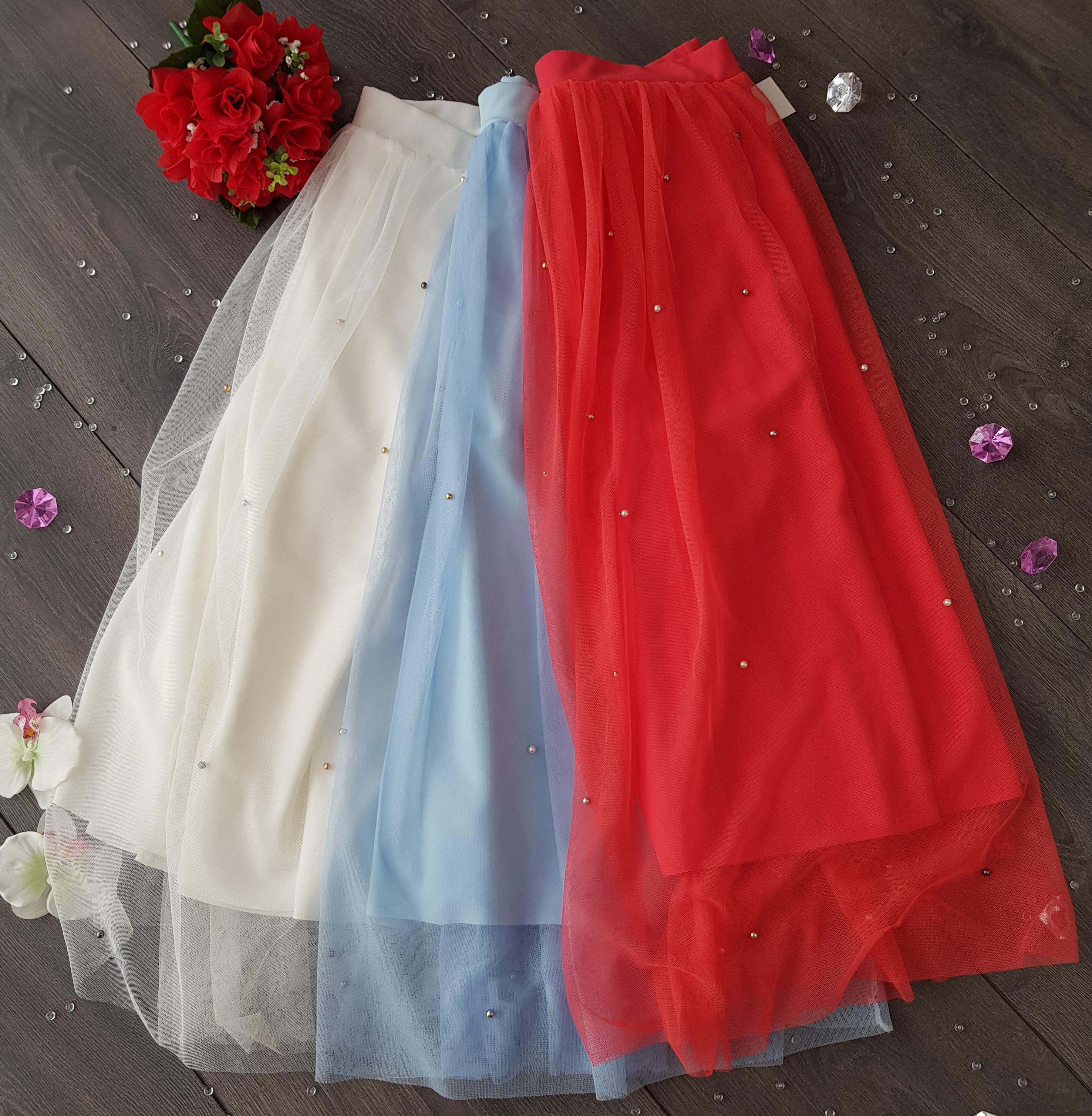SS Biela tylová MIDI sukňa s perličkami EUR UNI 29c1f91d12