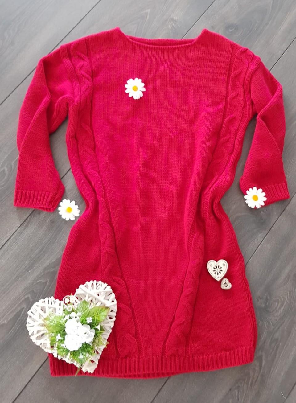 b11d7a3aeac6 Oversized pletené šaty červené