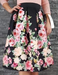 Čierna kvetovaná rozšírená MIDI sukňa s ružami e7f45a831d