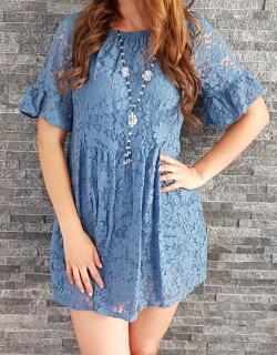 4aa11ef3f670 Letné čipkované mini šaty modré empty