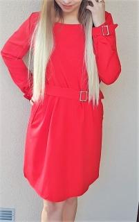 96798d6905a7 Elegantné červené šaty s opaskom